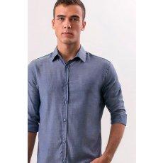 Camisa Manga Longa Maquinetada Semelhante a Linho
